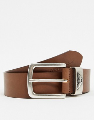 Emporio Armani eagle buckle leather keeper belt belt in tan