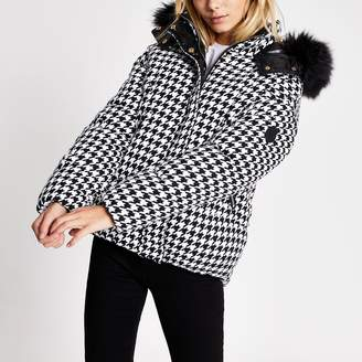 River Island Womens White dogtooth check padded coat