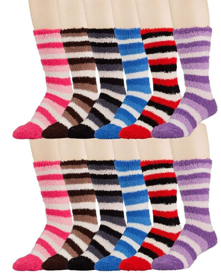 Butter Shoes 12 Pairs Of excell Womens Striped Soft Fuzzy Knee High Socks