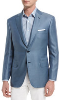 Brioni Tic Two-Button Silk-Blend Blazer, Light Blue