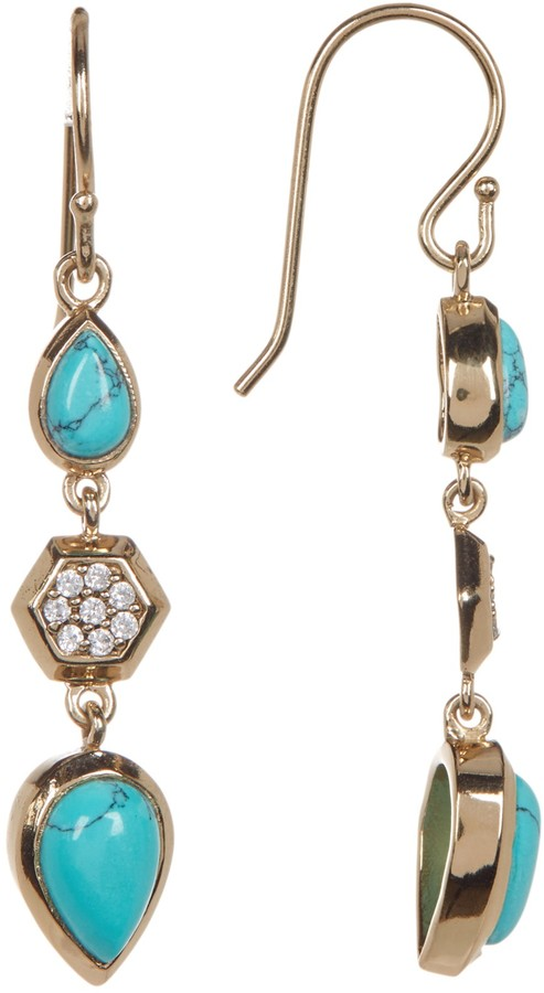 Melinda Maria Levi Turquoise Teardrop Pave Geo Linear Earrings