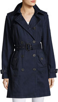 MICHAEL Michael Kors Denim Double-Breasted Trench Coat, Dark Blue