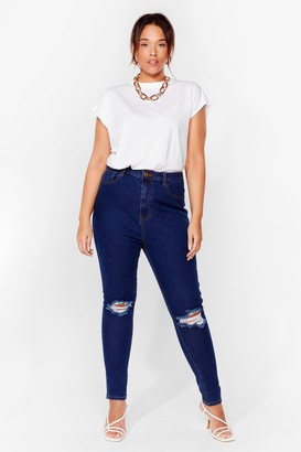 Nasty Gal Womens Get a Shred Start Plus Skinny Jeans - Mid Wash