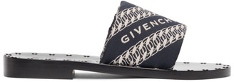 Givenchy Navy Jacquard Chain Mules