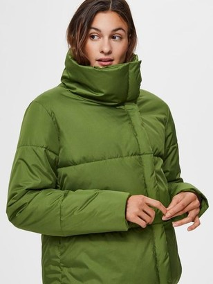Selected Water Repellent Puffer Jacket Green - 34