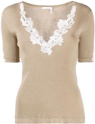 Chloé Lingerie lace-insert rib-knit top