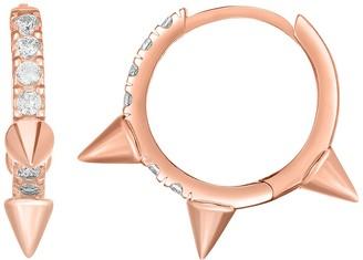 Sphera Milano 14K Rose Gold Plated Sterling Silver Spiked Pave CZ Huggie Hoop Earrings
