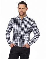 Jeff Banks Big And Tall Navy Dobby Textured Gingham Shirt