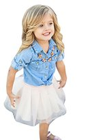 Family Clothes Outfits Set,FUNIC Mommy and Me Demin T shirt Tops+Skirt Dress (3T, Kids Girl)