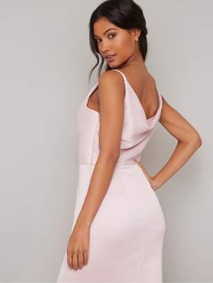 Chi Chi London Sima Cowl Neck Maxi Dress - Pink