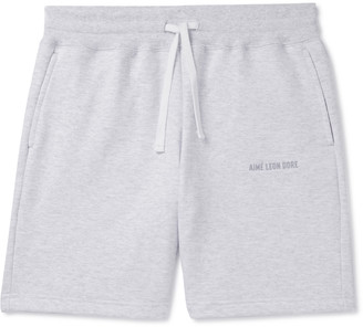 Aimé Leon Dore Logo-Embroidered Melange Loopback Cotton-Jersey Drawstring Shorts