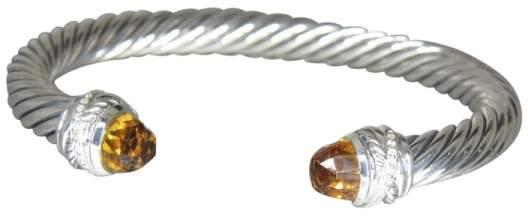 David Yurman 925 Sterling Silver with Citrine & Diamond Crossover Bracelet