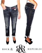 Rock & Republic Womens Jeans Low Rise Slim Fit Boyfriend Cut Dark
