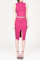 Donna Mizani Front Slit Midi Skirt In Berry