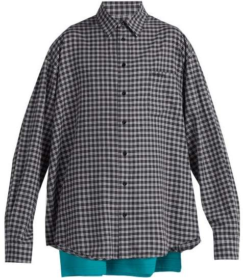 Balenciaga Double Layer Cotton Shirt - Mens - Grey