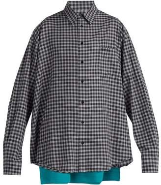 Balenciaga Double-layer Cotton Shirt - Mens - Grey