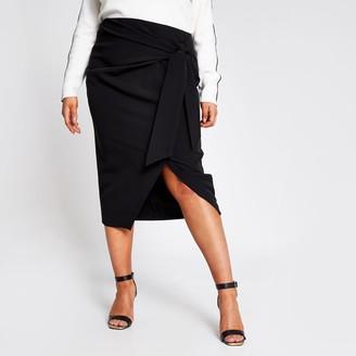 River Island Womens Plus Black wrap front midi skirt