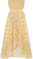 Miguelina Ines Cutout Printed Linen Midi Dress - Yellow