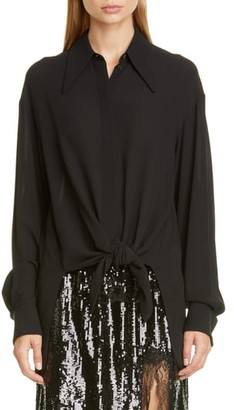 Michael Kors Collection Tie Front Silk Shirt