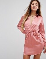 PrettyLittleThing Twist Front Satin Shirt Dress
