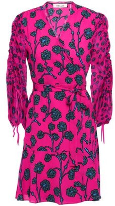Diane von Furstenberg Gathered Printed Crepe And Georgette Mini Wrap Dress