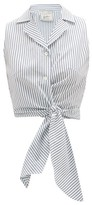 Giuliva Heritage Collection The Elide Tie-front Striped Cotton Shirt - Womens - White Stripe