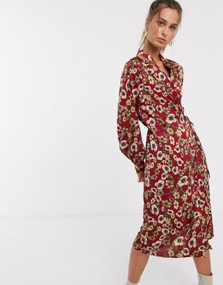 UNIQUE21 texture floral satin classic wrap dress-Multi