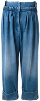 J.W.Anderson straight fit pleated denim trousers - women - Cotton - 10