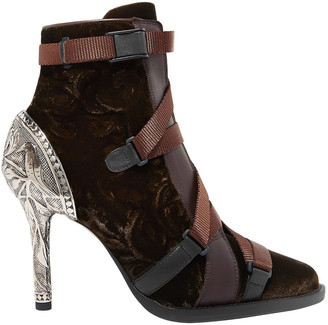 Chloé Embossed Silver Tone-paneled Lace-up Velvet Ankle Boots