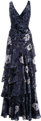 Marchesa floral tiered gown