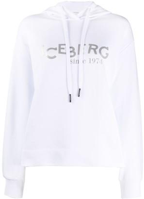 Iceberg logo printed hoodie