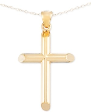 Signature Gold Cross Pendant Necklace in 14k Gold over Resin Core, Created for Macy's