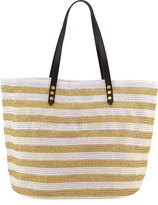 San Diego Hat Company Striped Braid Shoulder Tote Bag, White