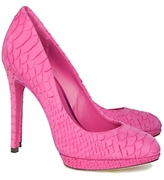 Brian Atwood Frederique Python Printed Suede Pump: Hot Pink