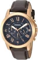 Fossil Men's Grant FS5068 Leather Quartz Dress Watch