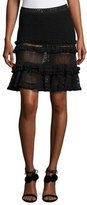 Jonathan Simkhai Ruffle Crochet Tiered Mini Skirt, Black