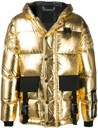 Philipp Plein Metallic Padded Hooded Jacket
