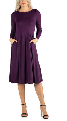 24seven Comfort Apparel Women Midi Length Fit and Flare Pocket Dress