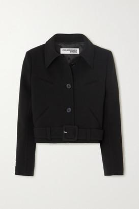 Courreges Belted Cropped Wool Jacket - Black
