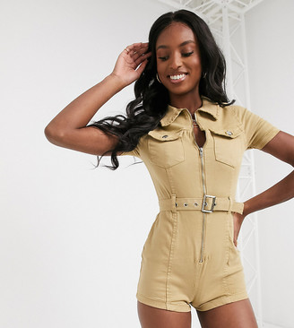 Parisian Tall utility playsuit with belted waist in stone