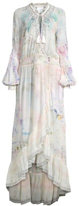 Camilla Mother Print Silk Long High-Low Flounce Dress