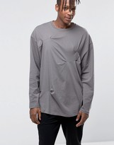 Asos Oversized Long Sleeve T-Shirt With Crease Details