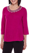 Sag Harbor 3/4-Sleeve Modern Geo Embroidery Top