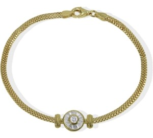 Argentovivo Cubic Zirconia Link Bracelet in 18k Gold-Plated Sterling Silver