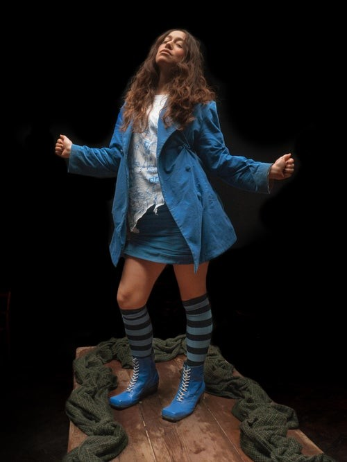 Thumbnail for your product : Charles Jeffrey Loverboy Twist-stitch Cotton-corduroy Mini Skirt - Blue