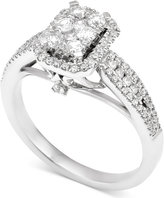 Macy's Diamond Rectangle Cluster Engagement Ring (5/8 ct. t.w.) in 14k White Gold