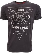 Ringspun Mens Fights Short Sleeve Printed Skull T-Shirt (X Large)