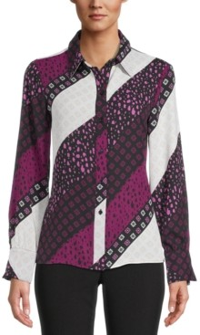 Bar III Printed Button-Down Blouse, Created for Macy's