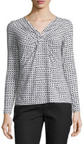 Lafayette 148 New York Long-Sleeve Gathered-Front Top, Black/Multi