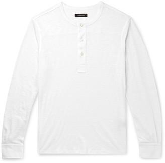 Ermenegildo Zegna Slim-Fit Slub Linen Henley T-Shirt